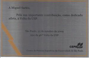 Placa Homenagem Volta da USP